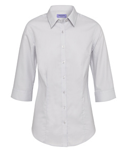 Women's Classic Fit Shirt Cotton Polyester Mini Herringbone Easy Care 3/4 Sleeve
