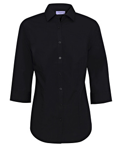 Women's Classic Fit Shirt Cotton Polyester Solid Dyed Poplin Easy Care 3/4 Sleeve