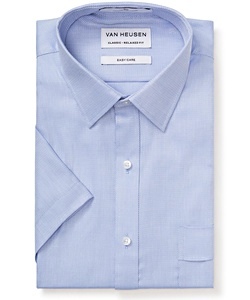 Men's Classic Relaxed Fit Shirt Cotton Polyester Dobby Herringbone Easy Care Short Sleeve