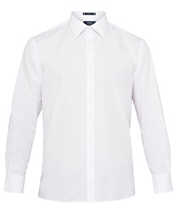 Men's European Tailored Fit Shirt Cotton Polyester Solid Dyed Poplin Easy Care