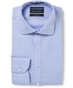 Men's European Fit Shirt Cotton Polyester Dobby Herringbone Easy Care