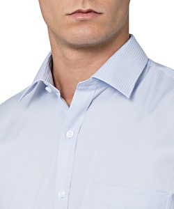 Men's European Tailored Fit Shirt Cotton/Polyester Mini Herringbone Easy Care