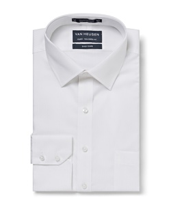 Men's European Tailored Fit Shirt Cotton/Polyester Mini Herringbone Easy Care