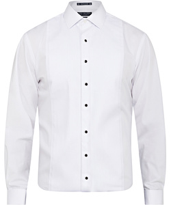 Men's European Tailored Fit Shirt Formal/Dinner Cotton Polyester Pleated Front French Cuff
