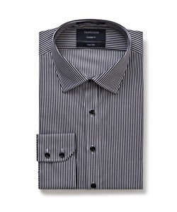 Men's European Fit Shirt Cotton Polyester Yarn Dyed Stripe Easy Care