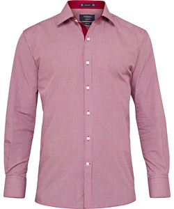 Men's European Tailored Fit Shirt Cotton Polyester Yarn Dyed Check Easy Care
