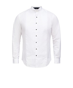 Men's European Tailored Fit Formal Wing Collared Shirt Cotton Polyester Pleated Front French Cuff