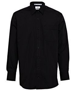 Men's Classic Relaxed Fit Shirt Polyester Cotton Solid Dyed Poplin Easy Care