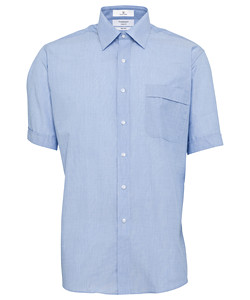 PHASE OUT STYLE - Men's Classic Relaxed Fit Shirt Polyester Cotton Yarn Dyed End on End Easy Care Short Sleeve