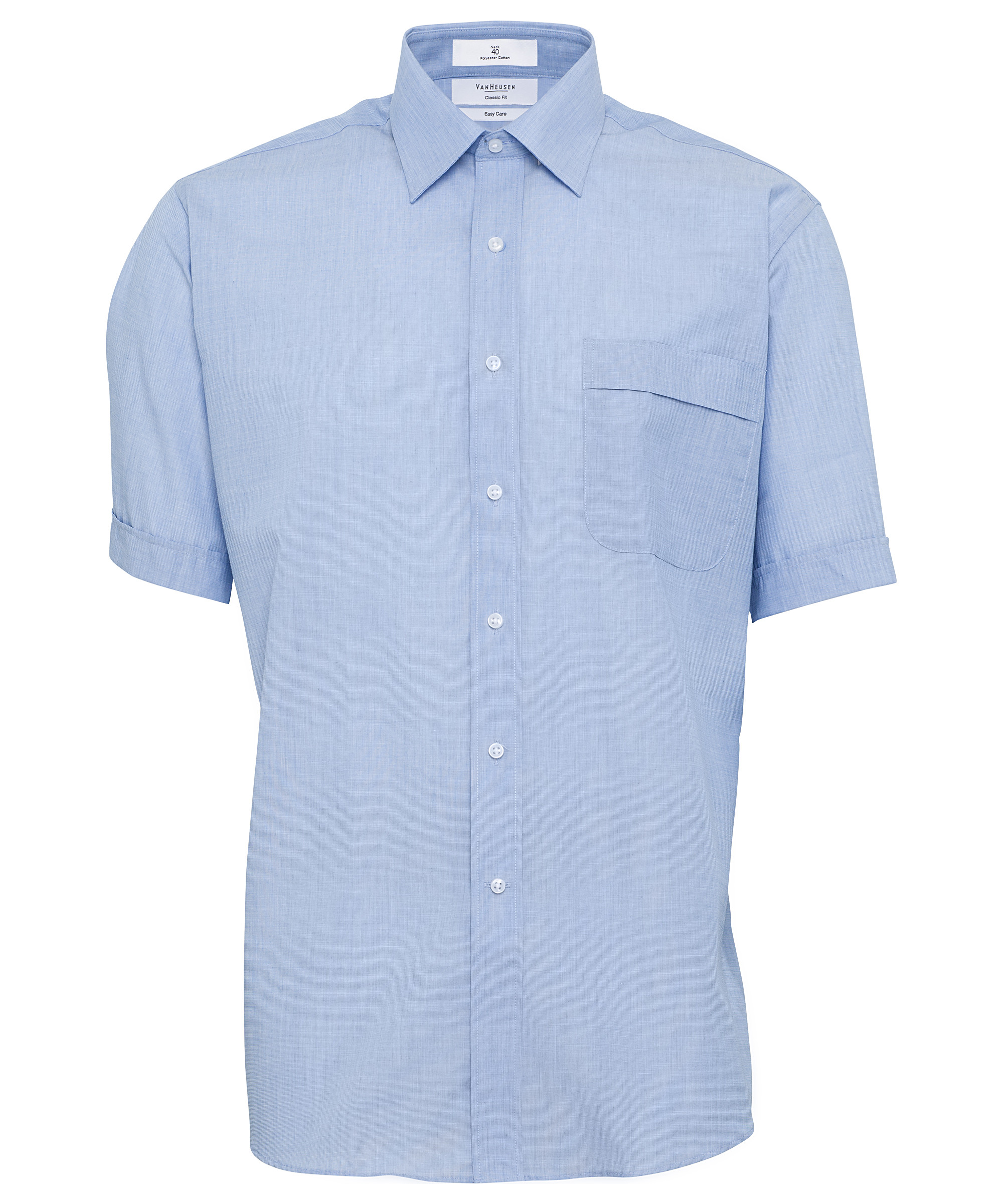 0b268306158 Van Heusen. Men s Classic Relaxed Fit Shirt Polyester Cotton Yarn Dyed End  on End Easy Care Short Sleeve
