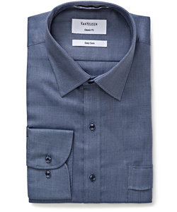 Men's Classic Relaxed Fit Polyester Cotton Dobby Herringbone Easy Care