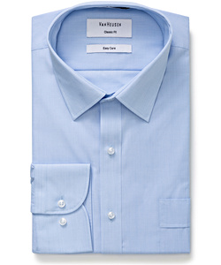 Men's Classic Relaxed Fit Shirt Polyester Cotton Yarn Dyed End on End Easy Care