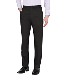 Black Flat Front, High Twist Yarn, Nail Head Fabric Trouser