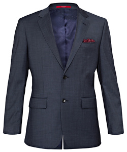 Wool Blend Ink Nail Head Suit Jacket with MOVE Technology