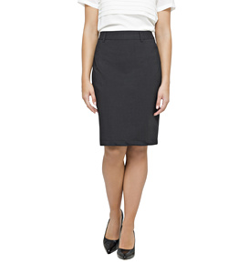 Stretch Wool Blend Plain Weave Suit Separate Skirt With Pockets & Belt Loops