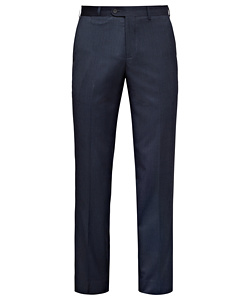 Blue Wool Blend Flat Front Suit Pants