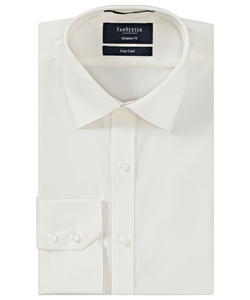 Men's Cotton Polyester Poplin European Fit Ivory Shirt