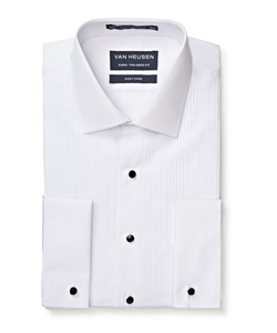 Men's European Tailored Fit Formal Peak Collared Shirt Cotton Polyester Pleated Front French Cuff