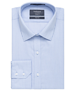 Men's European Tailored Fit Shirt Cotton Polyester Yarn Dyed Stripe Easy Care