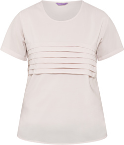 Women's Relaxed Fit Jersey Top Polyester Elastane Pleated Short Sleeve