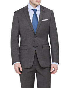 Charcoal Wool 2 Button Single Breasted Suit Jacket