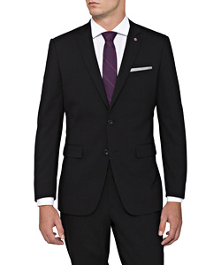 PHASE OUT STYLE - Black Wool 2 Button Single Breasted Suit Jacket