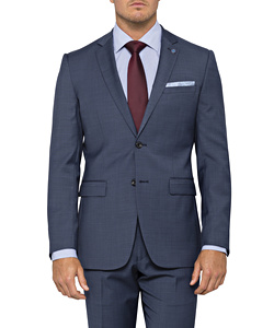 Blue Wool Blend 2 Button Single Breasted Suit Jacket