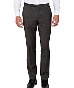 Charcoal Wool Flat Front Suit Pants