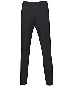 Black Wool Flat Fronted Suit Pants