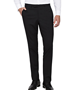 PHASE OUT STYLE - Black Wool Flat Fronted Suit Pants