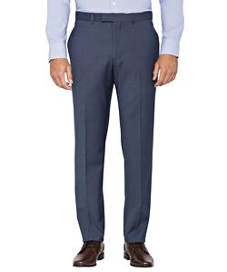 Blue Wool Blend Flat Front Suit Pants