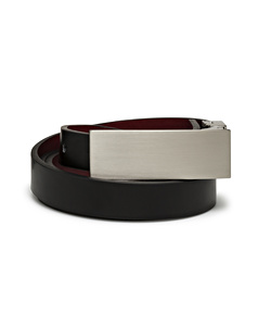 Women's Plate Buckle Black/Red Reversible Belt